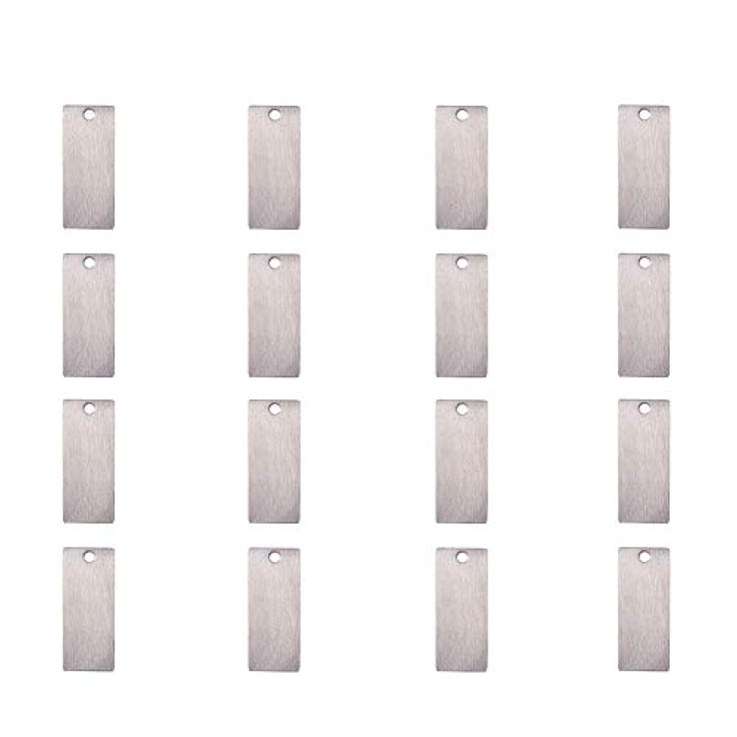 PandaHall Elite 50 Pcs 304 Stainless Steel Flat Rectangle Blank Stamping Tag Pendants Charms 38x16mm for Jewelry Making