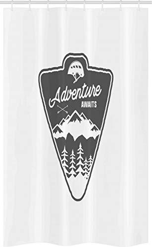 ABAKUHAUS Gezegde Douchegordijn, Camping en Wandelen Ontwerp, voor Douchecabine Stoffen Badkamer Decoratie Set met Ophangringen, 120 x 180 cm, Wit en Grijs