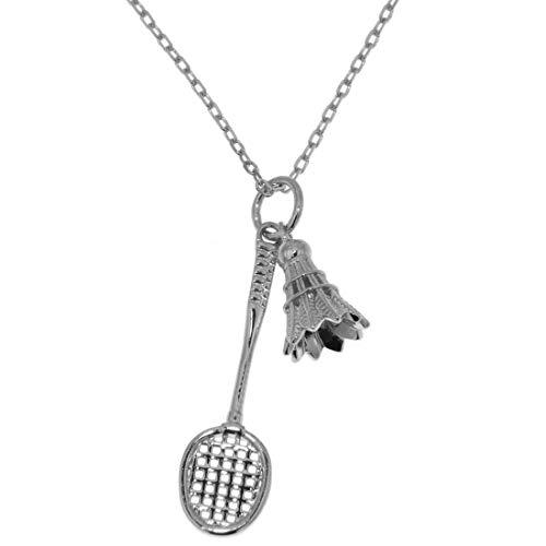 Derby Anhänger Badminton Federball mit Federball-Schläger massiv echt Silber mit Kette 33022