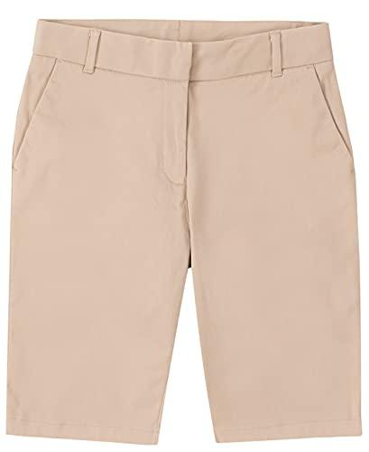 IZOD Girls' School Uniform Skinny Bermuda Twill Short, Khaki, 14