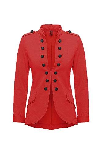 YSU Damen Blazer Damenjacke Military Knöpfe S-XXXL Urban Streetwear ideal auch für Karneval Karnevalskostüm (rot, L)