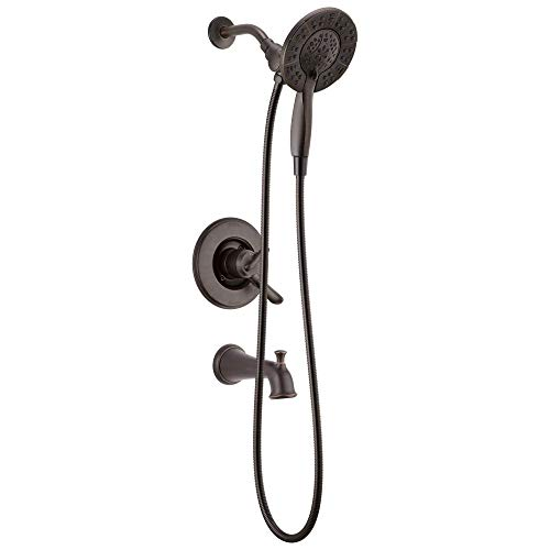 DELTA Linden 17 Series Dual-Function Tub and Shower Trim Kit, Shower Faucet with 4-Spray In2ition 2-in-1 Dual Hand Held Shower Head with Hose, Venetian Bronze T17494-RB-I (Valve Not Included)