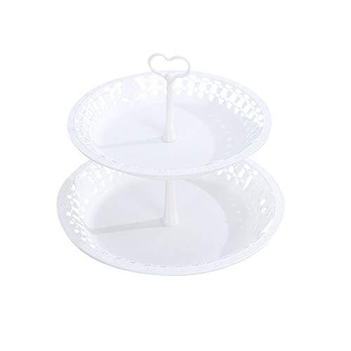 Soporte pastel Fiesta Exhibición boda Mesa desmontable Fácil limpiar 3 niveles Bandeja fruta decorativa para el hogar Cocina redonda PP multipropósito(2)