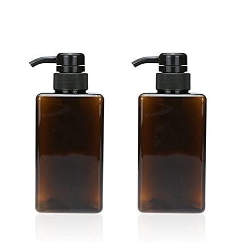 Sayiant 2 Leere Duschgel-/Shampoo-Flaschen, PET-Spender-Flasche, Lotion-Pump-Flasche, 450 ml, Braun, 2 Stück