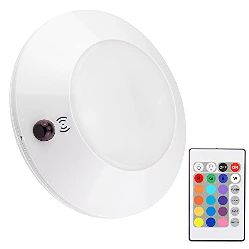 HONWELL Plafoniera a LED Luci con Telecomando, Lampada da Soffitto Dimmerabile a Batteria, 4 Luminosità Modalità Luci Notturne a LED Senza Fili,16 Colori di Luminosità per Armadio,Cucina,Corridoio