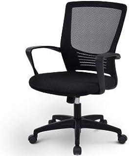 Famyfamy Silla de oficina de malla con respaldo medio giratorio con ajuste de altura, reposabrazos y respaldo lumbar ergonómico sillas de oficina