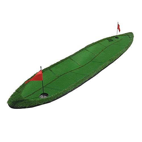 Golf Putting Mats, 70 300cm Golf Mat with Invisible Obstacles, Willow Leaf Shape, Portable Indoor Office and Outdoor Golf Practice Mat