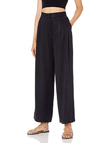 The Drop Sarah High-Waist-Hose, doppelt plissiert, mit weiten Beinen, Damenmode, Schwarz, GrößeXXS