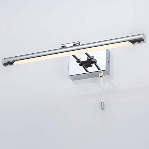 YXNKK LED Modern Badleuchte, wasserdichte Badezimmer Spiegellampe Einstellbar Badlampe mit Zugschalter Schlafzimmer Spiegelleuchte Metall Spiegelschrank Lampe Bad Spiegel Lichter,White Light,60CM/9W