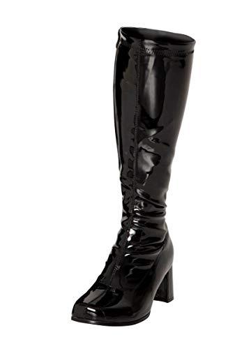 Zapatos con hebilla BS12733 para mujer, estilo retro de los años 60 y 70 para fiestas de disfraces, color Negro, talla 38 EU