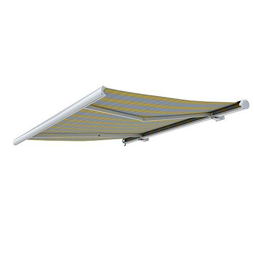 paramondo Markise Kassettenmarkise Curve Gelenkarmmarkise Balkon Terrasse Sichtschutz, mit jarolift Funkmotor, 3,5 x 3 m, Gestell: Weiß, Stoff: Block, Gelb-Grau