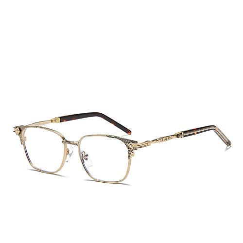 WEIDD Gafas De Filtro De Luz Azul, Gafas De Pantalla, Ojos De Juego Gafas De Titanio Puro Chapado En Azul Gafas De MiopíA Montura De Gafas De Metal Retro Para Hombre Marco De Gafas-C3