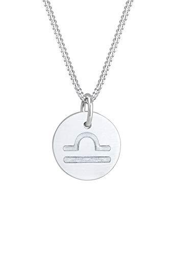 Elli Halskette Damen Sternzeichen Waage Astro Symbol Matt in 925 Sterling Silber