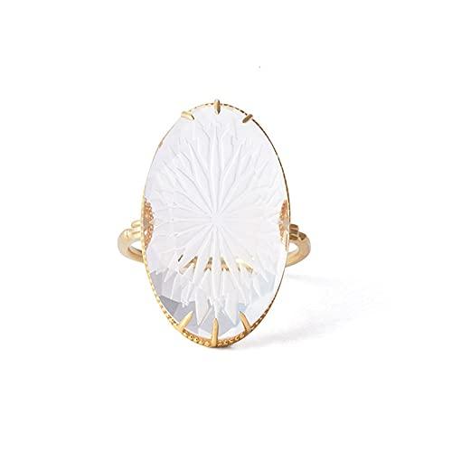 Anillo de plata 925 para mujer de lujo, estilo vintage, copo de nieve, cristal blanco natural, chapado en oro de 14 quilates, joyería fina (color de la gema: RI154, tamaño del anillo: 5)