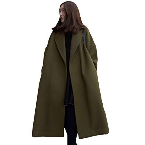 Azastar dames winterjas wollen jas lange jas warme winterjas vrouwen mantel met waterval snit
