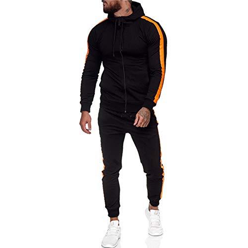 XIKONG Herren Hoodie Trainingsanzug Set Casual Sports Hosen, Langarm Sport Jacke Reißverschluss Basketballjacke Gymnastik Jogger Hosen Black-L