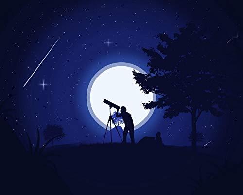 Kpoiuy Paquete De Pintura por NúMero En Lienzo Pintura Al óLeo Silueta Telescopio Noche Estrellas Arte Cuadros Pintados A Mano del Arte del Colorante De AcríLico para Los Adultos De La Sala De Estar