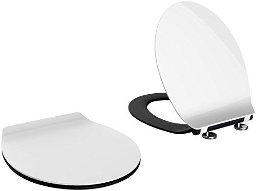 WC-Sitz Schwarz / Weiß Premium Slim *extra dünn* mit Absenkautomatik, zur Reinigung abnehmbar