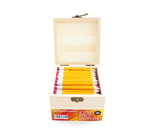 S & E TEACHER'S EDITION 4'' Golf Pencils, Half Pencils with Eraser Tops, Come with the wooden box worth $6.99, 160/Box.