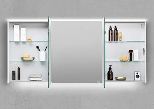 Intarbad ~ Spiegelschrank 160 cm integrierte LED Beleuchtung doppelt verspiegelt Beton Anthrazit IB1197