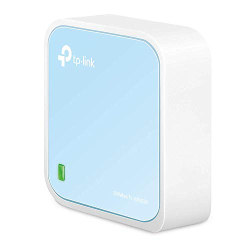 TP-Link TL-WR802N N300 WLAN Nano Router (Tragbar, Accesspoint, TV Adapter, Repeater, Router, Client, 300 Mbit/s (2,4GHz), Print, Media, FTP Server), blau/ weiß
