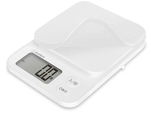 dretec(ドリテック) キッチンスケール はかり 料理 0.1g 3kg シリコンカバー付 1年保証 ホワイト KS-816