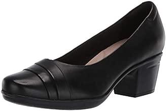 Clarks womens Emslie Mae Pump, Black Leather, 7.5 US