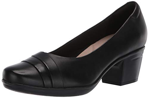 Clarks womens Emslie Mae Pump, Black Leather, 8 US