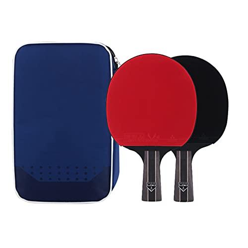 LINGOSHUN Raquetas de Tenis de Mesa de 5 Estrellas,Paleta de Ping Pong Profesional,Juego de Raquetas de Ping Pong para 2 Jugadores/Double/B
