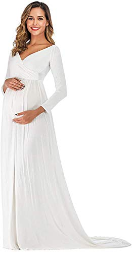 Arbres Vestido de mujer elegante para embarazadas, sesiones de fotografía, vestido largo de novia, vestido de maternidad, vestido de noche Blanco XL