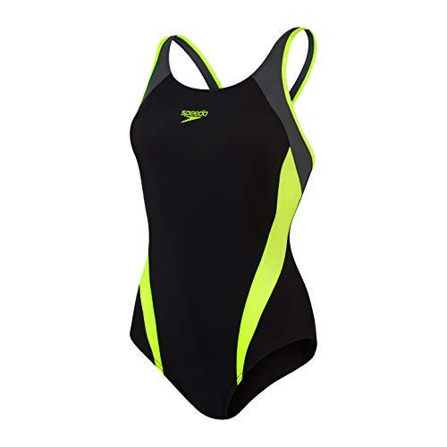 Speedo Splice Muscleback AF Traje de baño, Mujer, Black/Fluo Yellow/Oxid Grey, 38