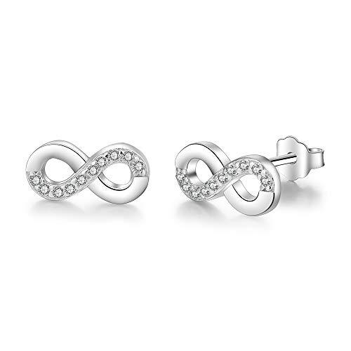 Infinity Damen-Ohrstecker, Bo&Pao Unendlichkeitszeichen Ohrringe 925 Sterling Silber Zirkonia