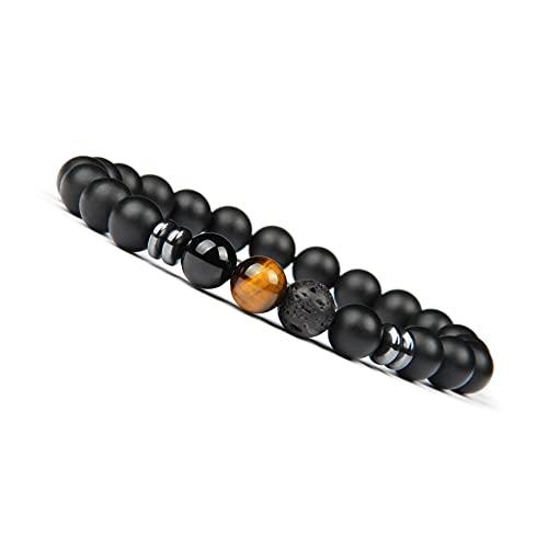 ® Pulsera de perlas chakra fabricada de ónix y piedra volcánica, pulsera energética con perla de jaspe de colores, pulsera de yoga para hombres y mujeres (Ojo de tigre)