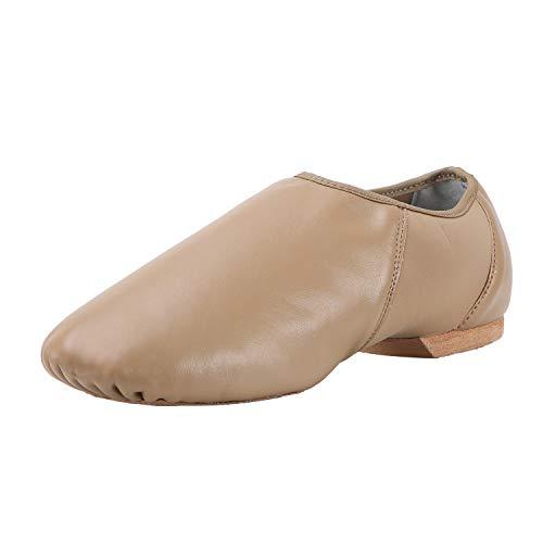 ARCLIBER Leather Slip On Jazz Shoe for Girls Boys (Little Child) Brown 11M