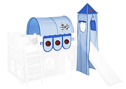 Lilokids Textilset Dragons Blau für Halbhochbetten - Turm, Tunnel und Taschen