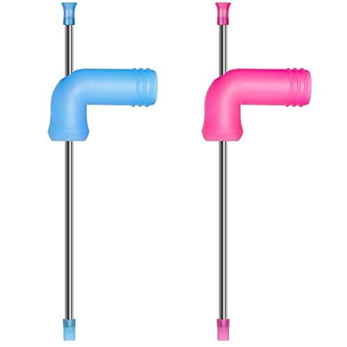 Mantimes 2 piezas de cerveza Snorkel Bong embudo con válvula de torcedura Bonus llavero herramienta abrebotellas para juegos de cerveza tubo recto (rosa y azul)