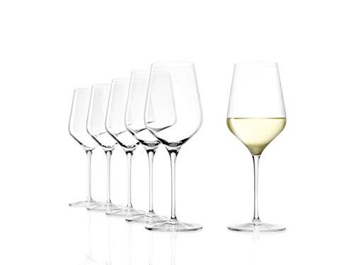 Stölzle Lausitz Gläser Starlight, 6er Set Weißweinkelch, hoch Funktionelle Weingläser, spülmaschinenbeständig (410 ml)