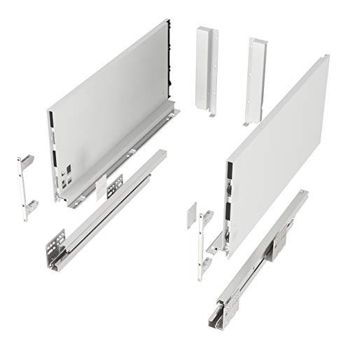 Schubkastensystem SO-SLIM weiß Höhe: 199 mm Tiefe: 500 mm belastbar bis 40 Kg Soft-Close Schubladensystem mit 13 mm schlanken Schubladenzargen