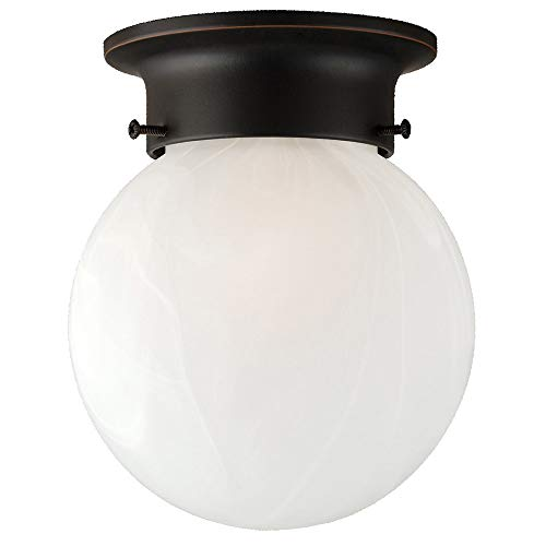 Design House 514521 Millbridge Traditional 1 Indoor Ceiling Mount Globe Light Dimmable for Bedroom Dining Room Kitchen, No Pull Chain, Oil Rubbed Bronze