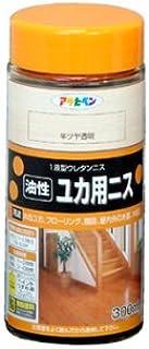 アサヒペン 油性ユカ用ニス 300ML 半ツヤ透明