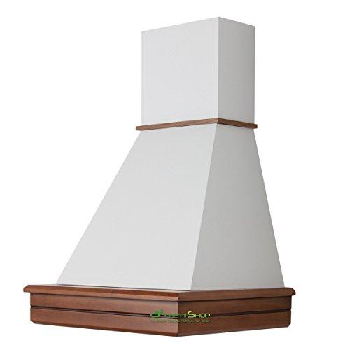 Cappa cucina rustica legno mod.Stock 60 da parete - Noce biondo - cono bianco