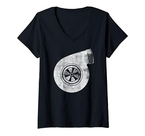Mujer Turbo Turbine Turbina turbo Camiseta Cuello V