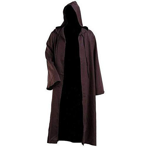 BAYUE Capa de Cosplay del Traje de Halloween de los Hombres Suave Guerra de Las Galaxias Albornoz Albornoz con Capucha Jedi (Color : Brown, Size : L)