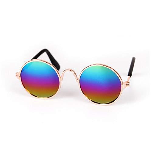 Gafas De Sol para Mascotas Retro Clásico De Las Gafas De Sol Circulares De Metal para Chihuahua Gato O Perros Pequeños (Multicolor) 1 Pc