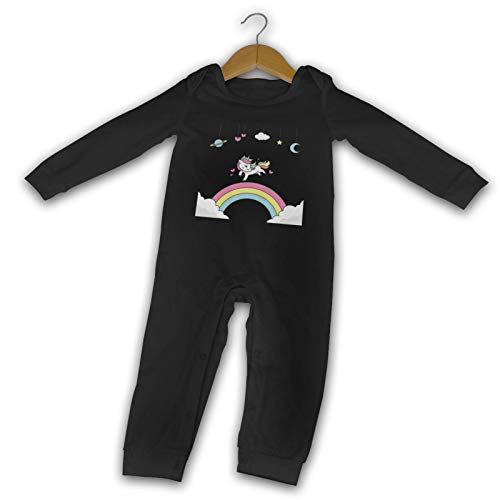 WushXiao Rainbows Einhorn Long Comfort Baby Crawler schwarz Gr. 12 Monate, Schwarz
