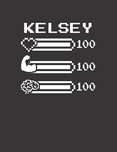 KELSEY: Pixel Retro Game 8 Bit Design Blank Composition Notebook College Ruled, Name Personalized for Girls & Women. Gaming Desk Stuff for Gamer ... Gift. Birthday & Christmas Gift for Women.