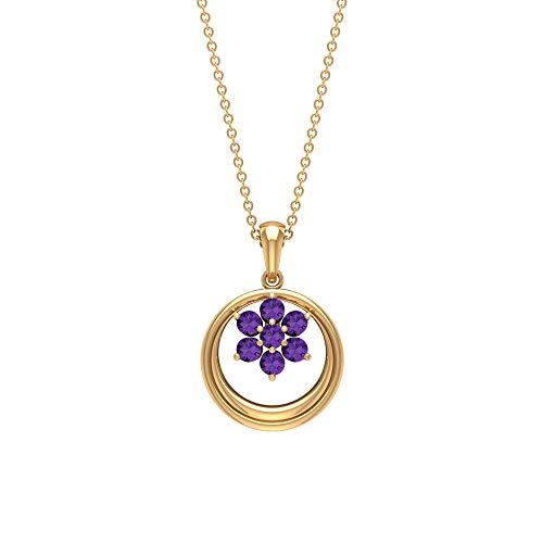 Collar de oro de 3/4 quilates creado en laboratorio, colgante grabado en oro, colgante de promesa, collar de racimo de flores, colgante de aniversario para novia morado