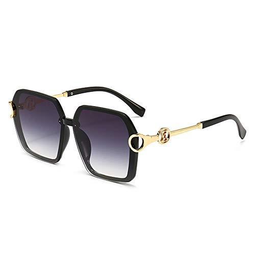 Fenshan223 2021 Neue Frauen Sonnenbrillen, Big Square Box, Trendstern ist dünn, Abdeckung Gesicht, Sonnenbrille, Straßenschießen, Netto-Promi-Live-Gläser (Size : Black Box Double Gray)
