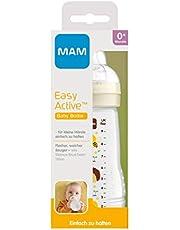 MAM Easy Active - Borraccia da 270 ml, con tettarella MAM, misura 1, in silicone SkinSoft, forma ergonomica, 0+ mesi, colore: Beige