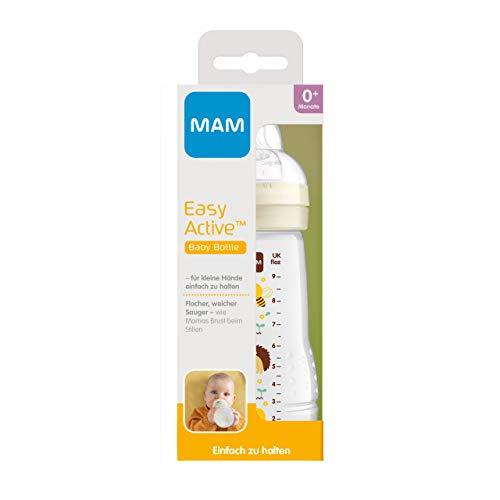 MAM Botella Easy Active (270 ml), incluye tetina MAM tamaño 1 de silicona SkinSoft y botella de leche con forma ergonómica, 0 meses, color beige